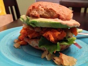 Roasted sweet potato, carmelized onion & sricha mayo sammy